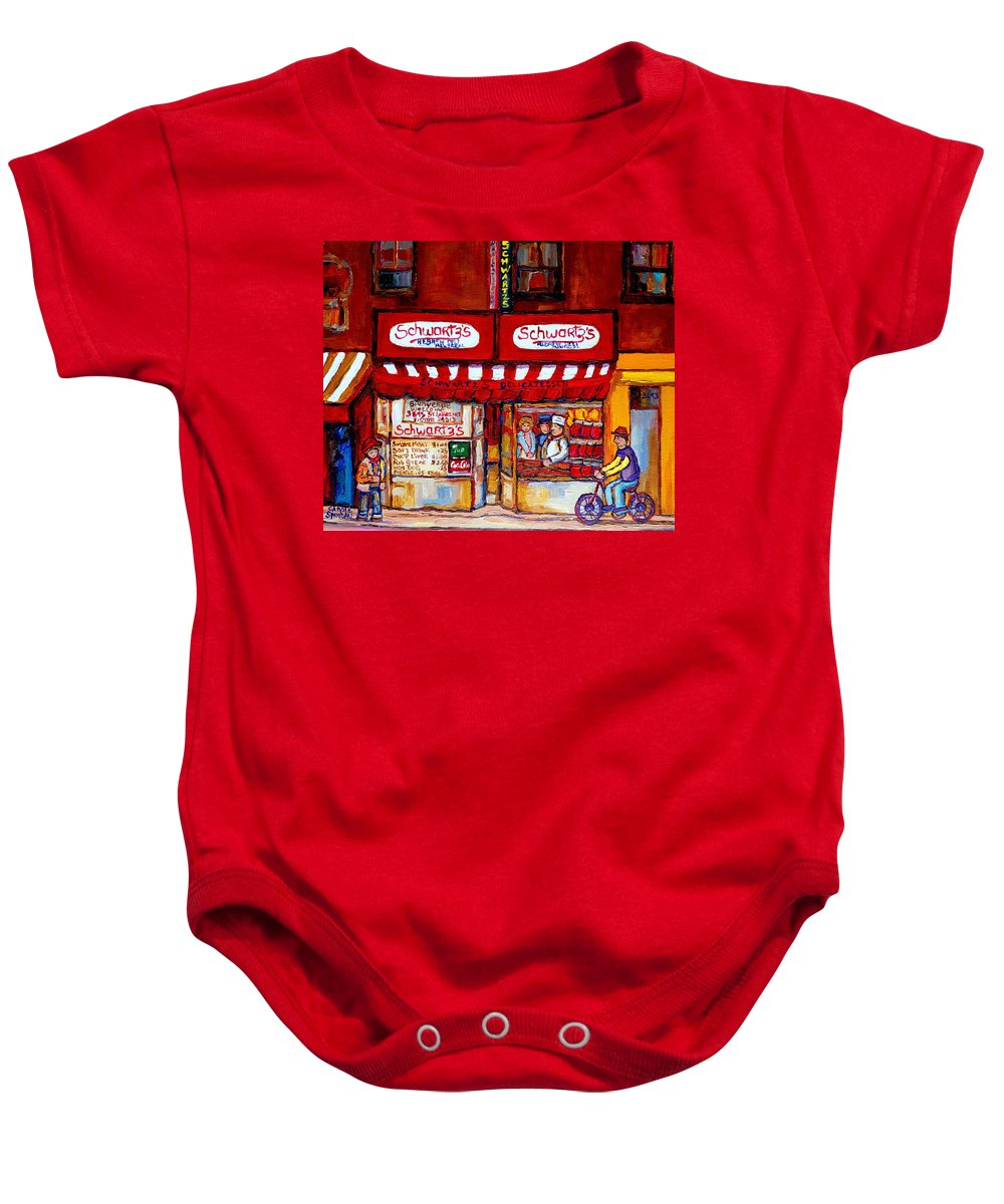 Montreal Paintings Baby Onesie featuring the painting Schwartz's Deli-montreal Street Scenes-painting-by Quebec Artist-carole Spandau by Carole Spandau