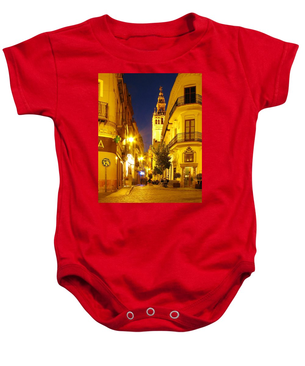 Sevilla Baby Onesie featuring the photograph Sevilla At Night by Greg Matchick