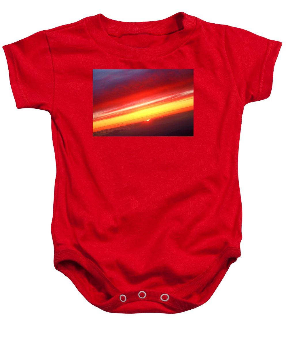 Sunset Baby Onesie featuring the photograph Sunset Above The Clouds by James BO Insogna