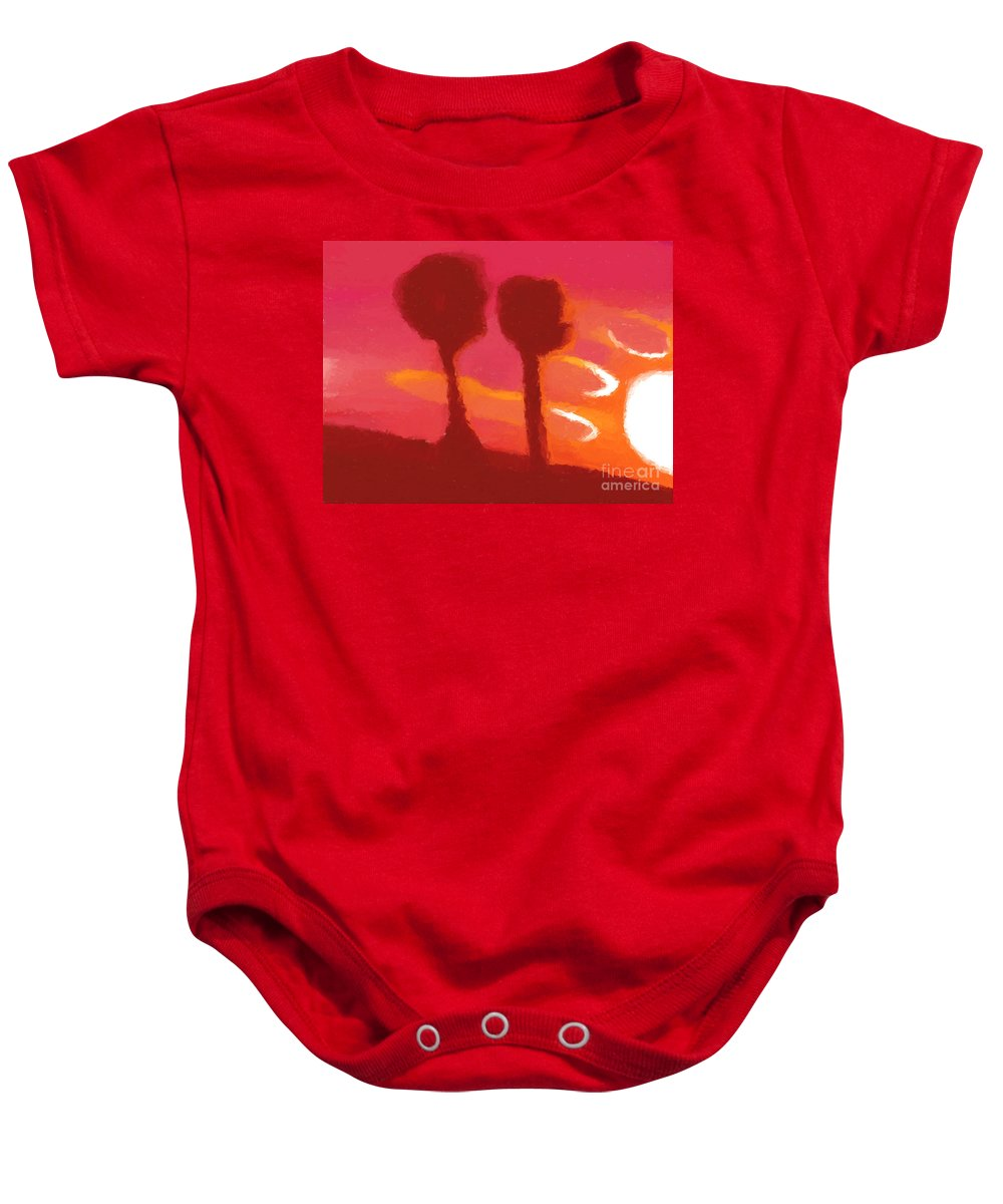 Sunset Baby Onesie featuring the painting Sunset Abstract Trees by Pixel Chimp