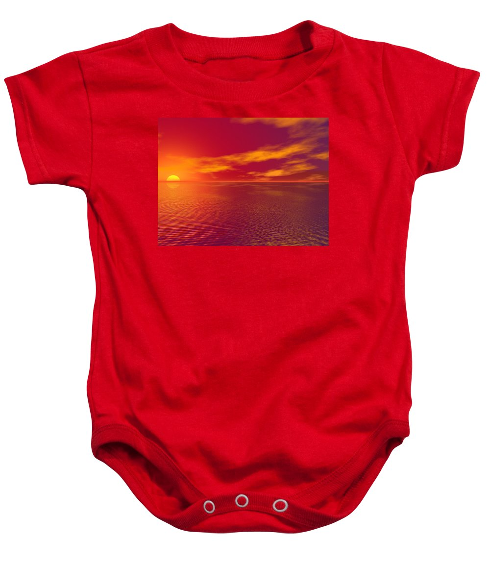Cloudy Baby Onesie featuring the photograph Sunset Over The Water by Paul Sale Vern Hoffman