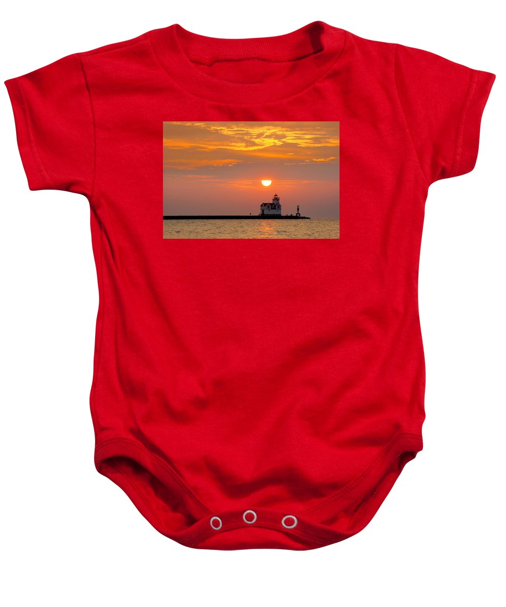 Lighthouse Baby Onesie featuring the photograph Supraliminal Sunrise by Bill Pevlor
