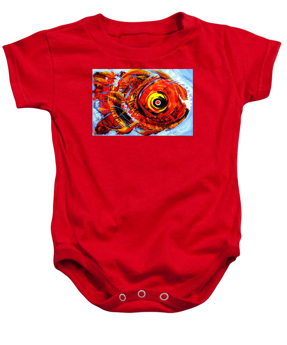 Fish Baby Onesie featuring the painting Textured Red Fish by J Vincent Scarpace