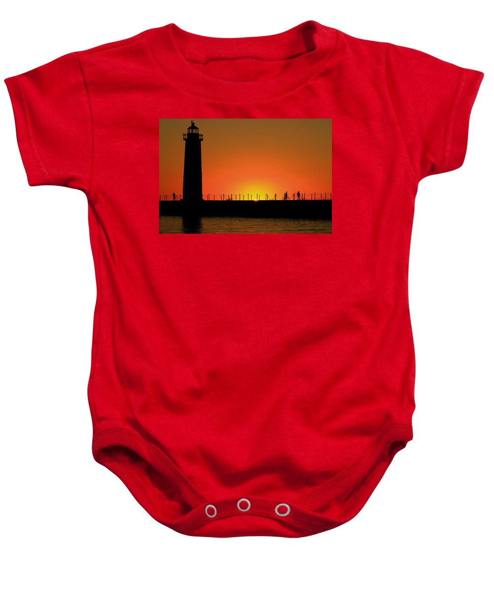 Fishing Baby Onesie featuring the photograph The End Of The Day by Dennis Pintoski