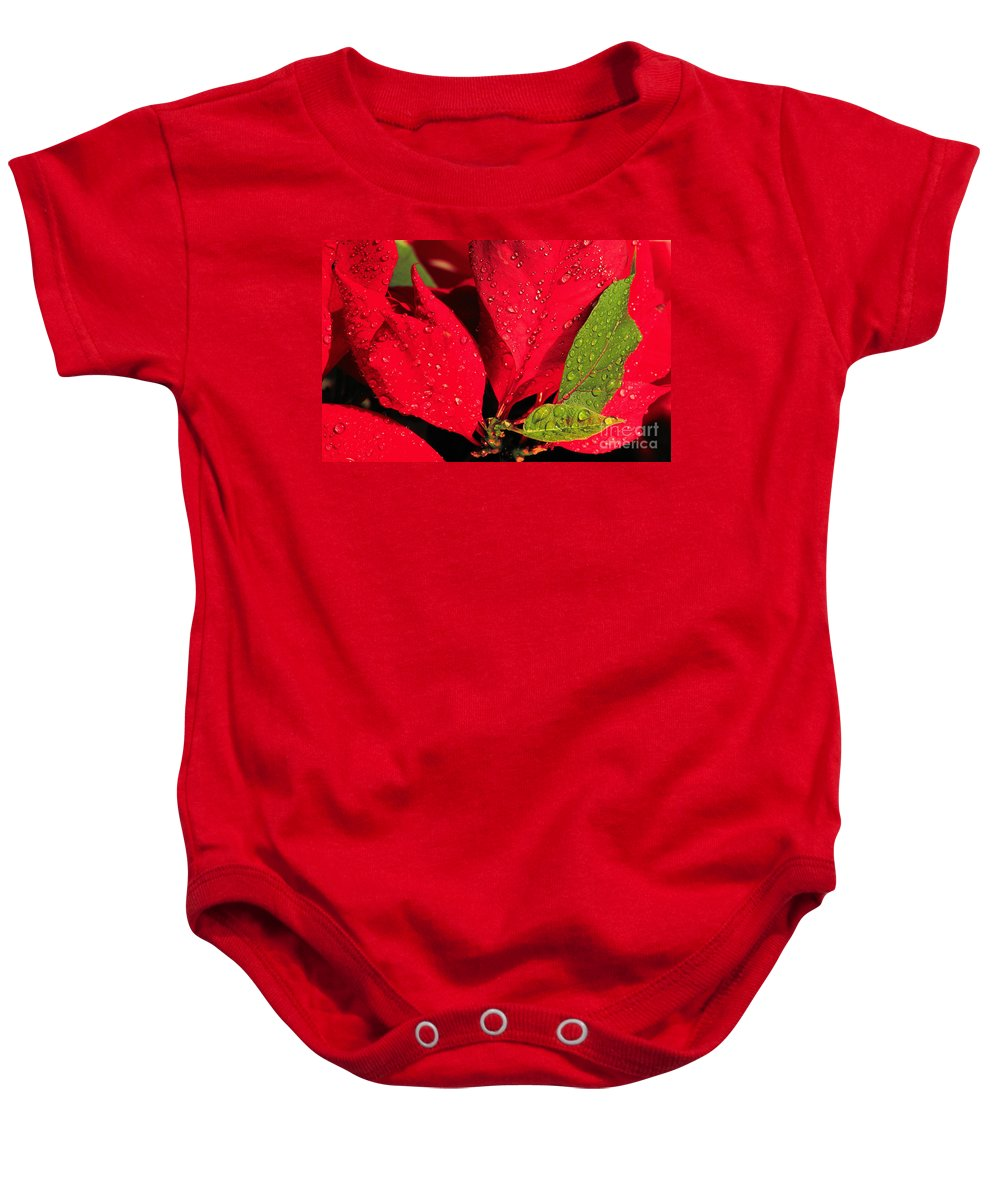 Poinsettia Baby Onesie featuring the photograph The Poinsettia by Mike Nellums