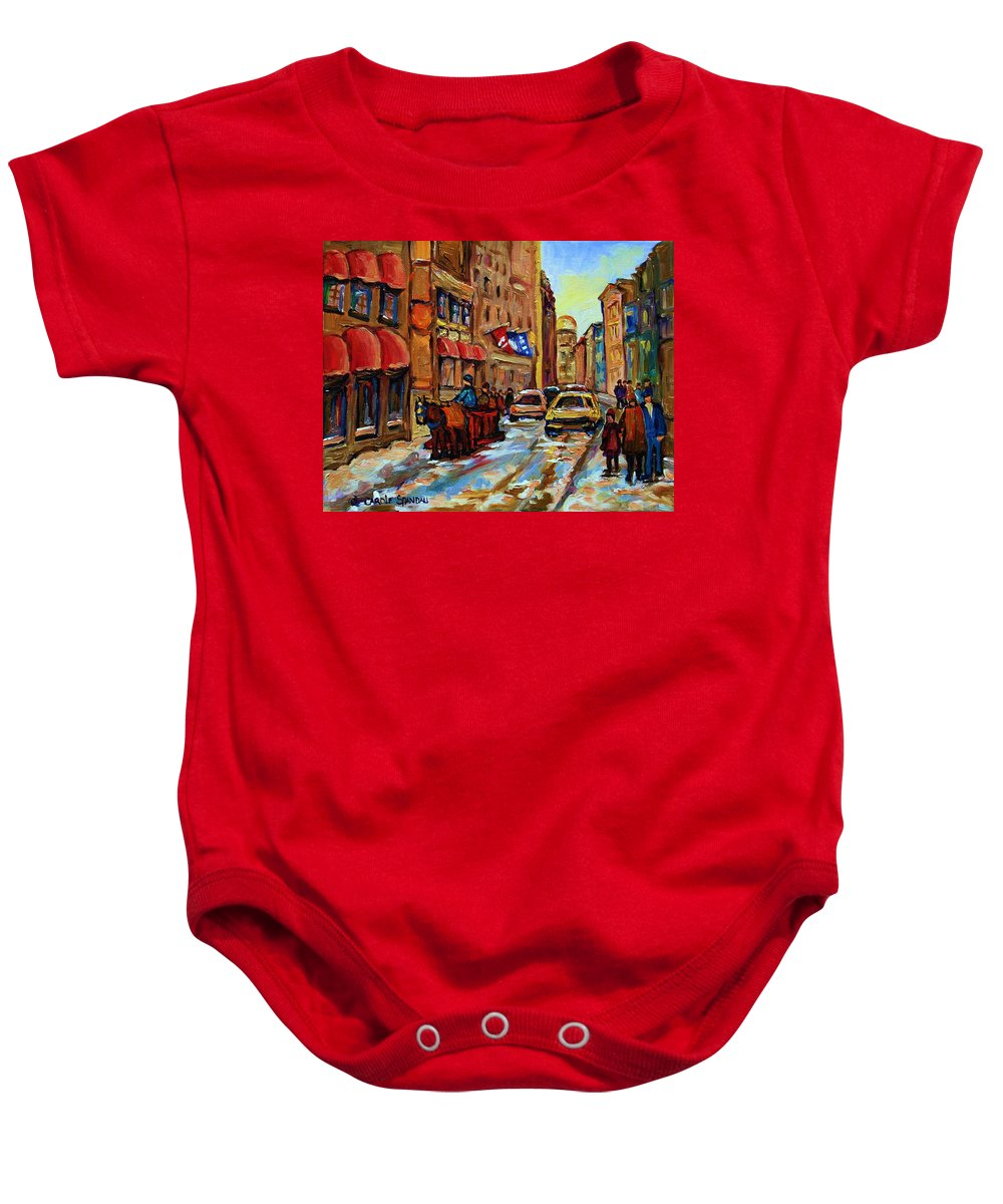Horses Baby Onesie featuring the painting The Red Sled by Carole Spandau