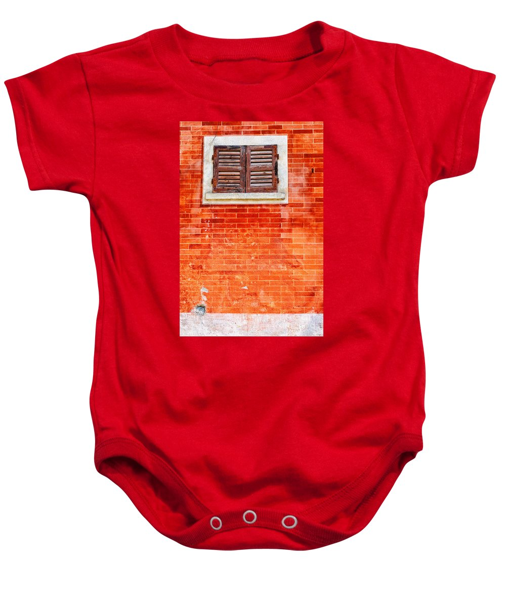 Window Baby Onesie featuring the photograph Tiny Window On Orange Wall by Silvia Ganora