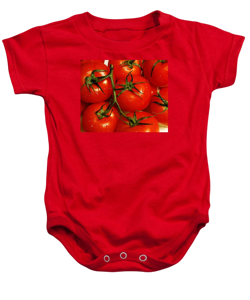 Colour Baby Onesie featuring the photograph Tomatoes by David Chapman
