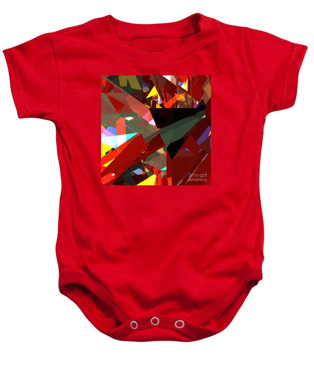 Abstract Baby Onesie featuring the digital art Tower Series 45 Angels And Demons by Russell Kightley
