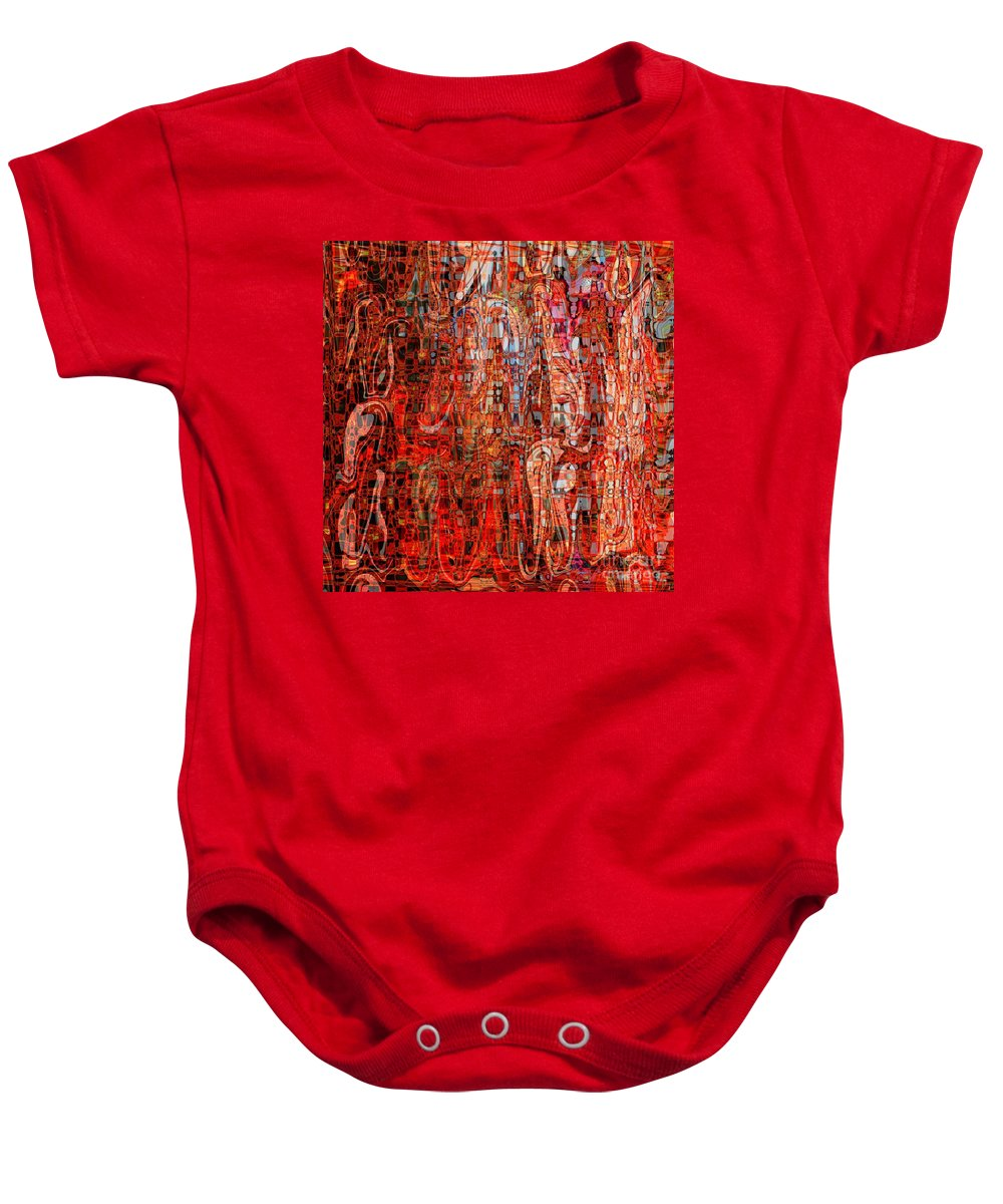 Red Baby Onesie featuring the digital art Warm Meets Cool - Abstract Art by Carol Groenen