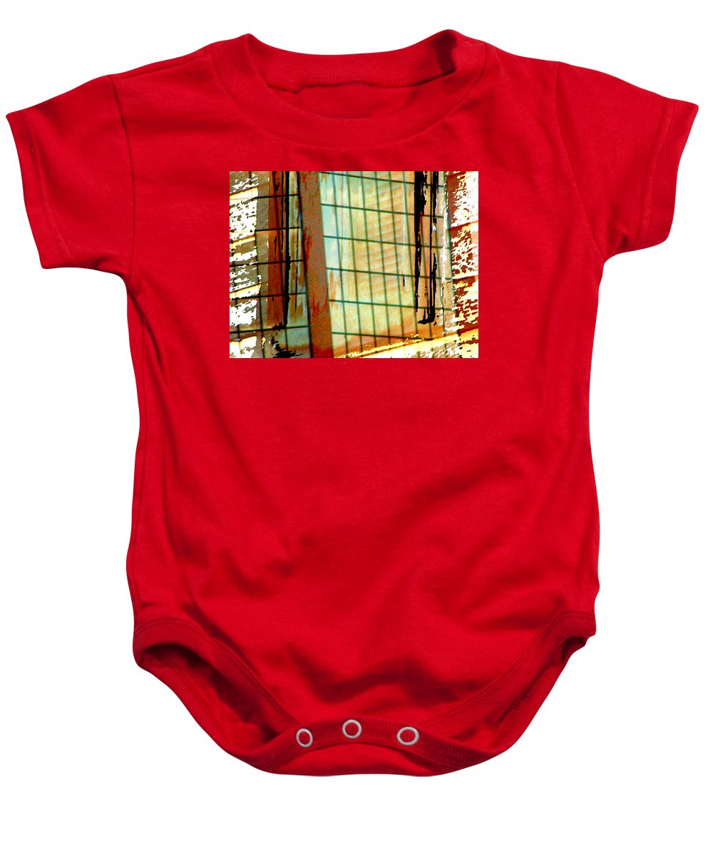 Abstract Baby Onesie featuring the photograph Windows Old And New by Lenore Senior