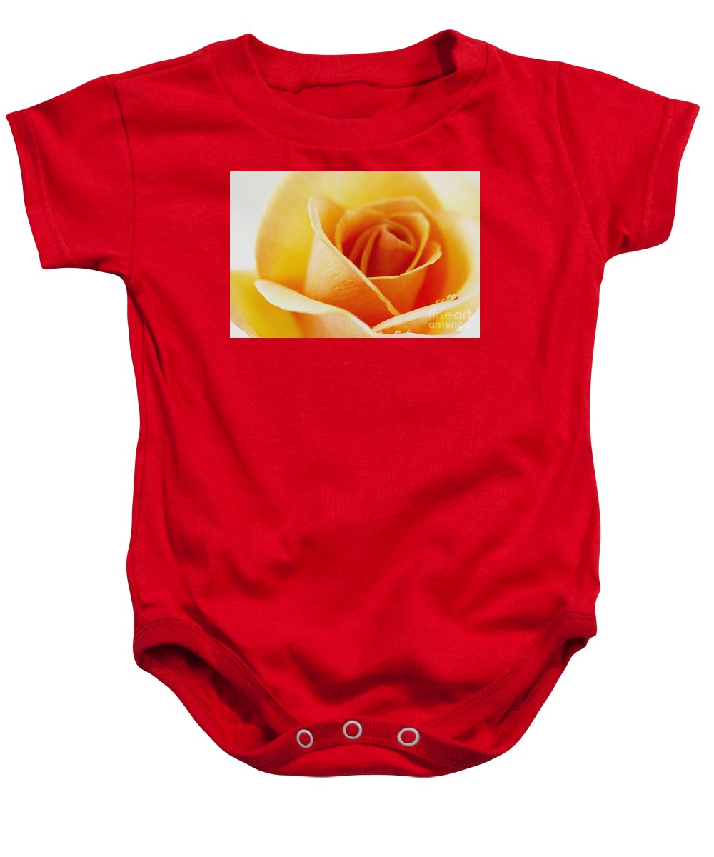 Rose Baby Onesie featuring the photograph Yellow Rose After The Rain by Jinfeng Shi