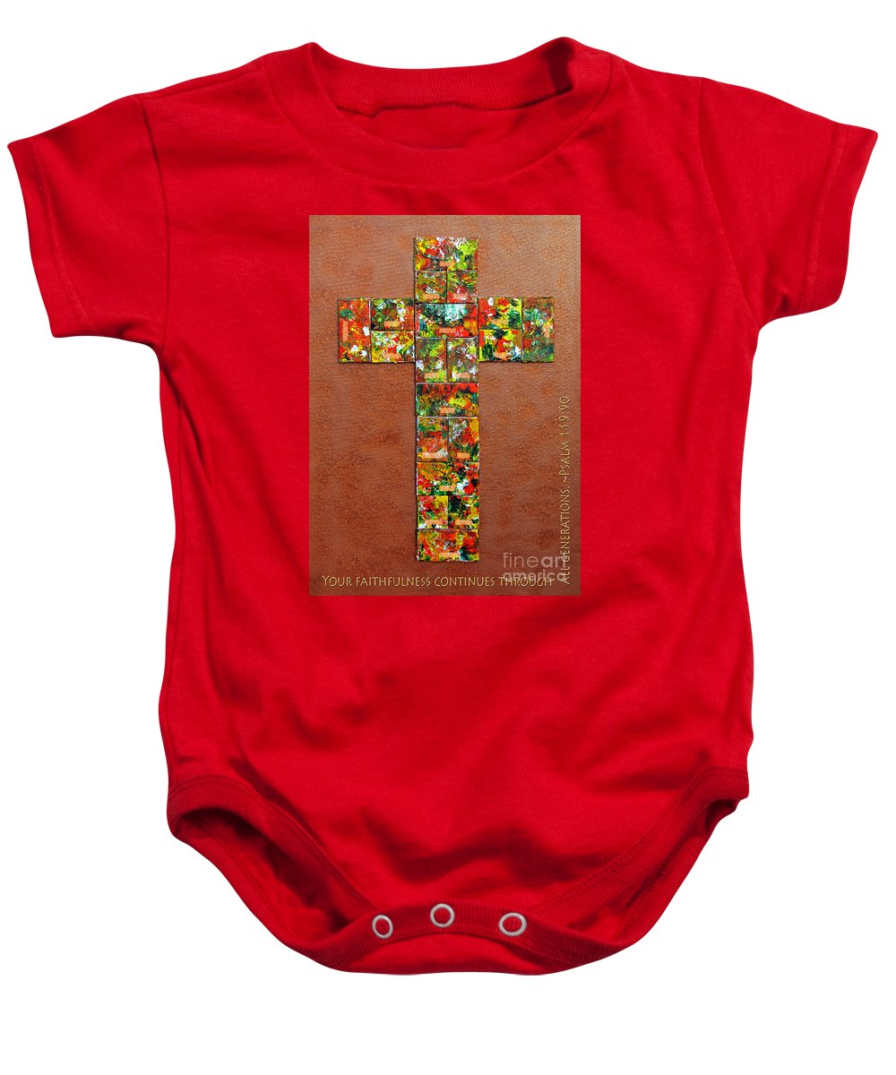 Baby Onesie featuring the mixed media Your Faithfulness by Gwyn Newcombe