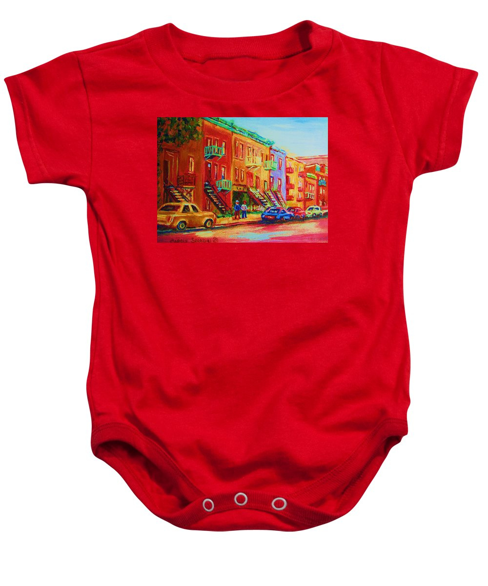 Painted Houses Baby Onesie featuring the painting Summer In The City by Carole Spandau