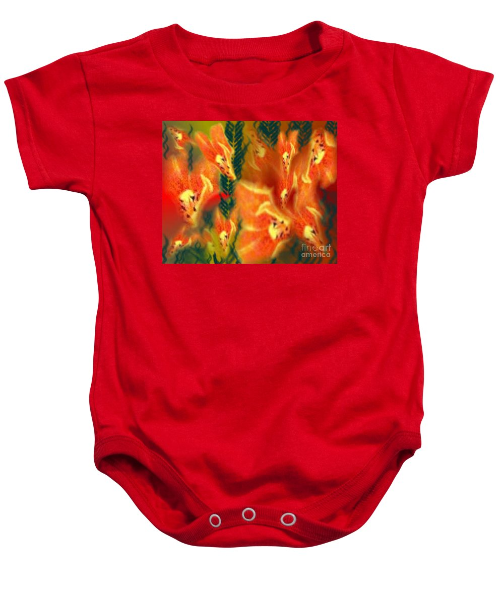 Florals Baby Onesie featuring the digital art Symphonic Dance by Brenda L Spencer