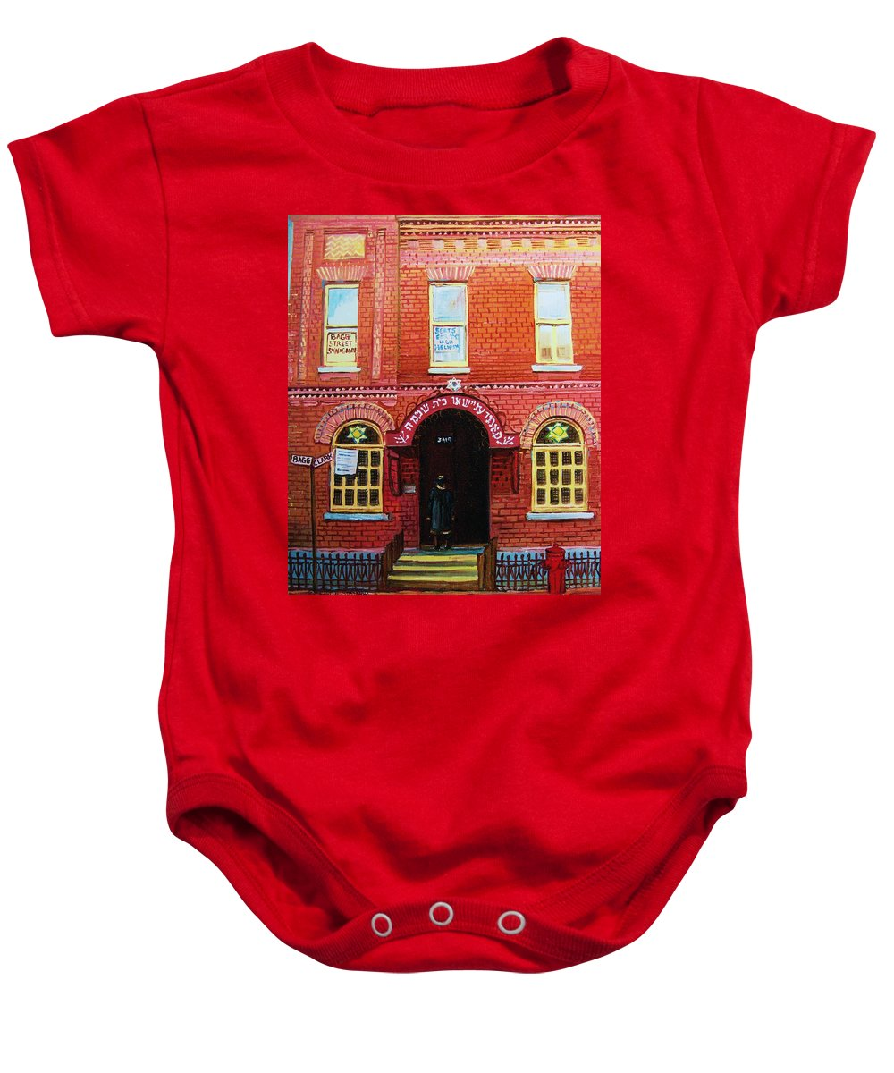 Synagogues Baby Onesie featuring the painting Temple Solomon Congregation by Carole Spandau