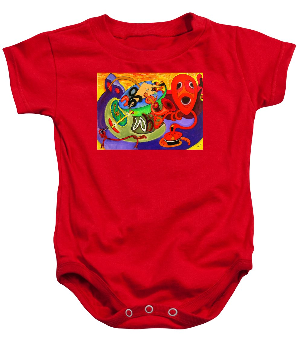 Time Baby Onesie featuring the painting Time Constraints by Helmut Rottler