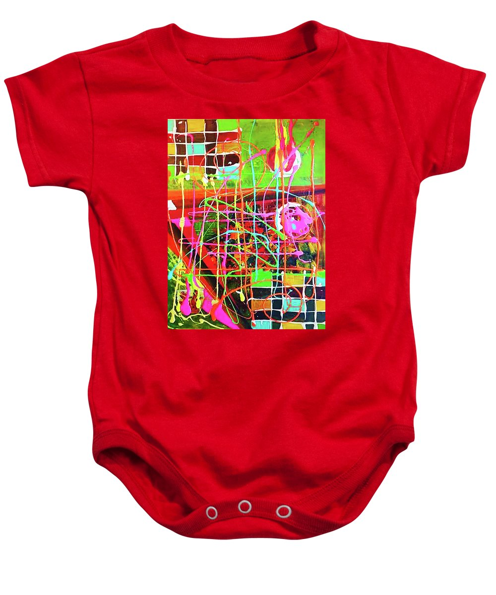 Abstract Baby Onesie featuring the painting Abstract Colorful by Maria Rom