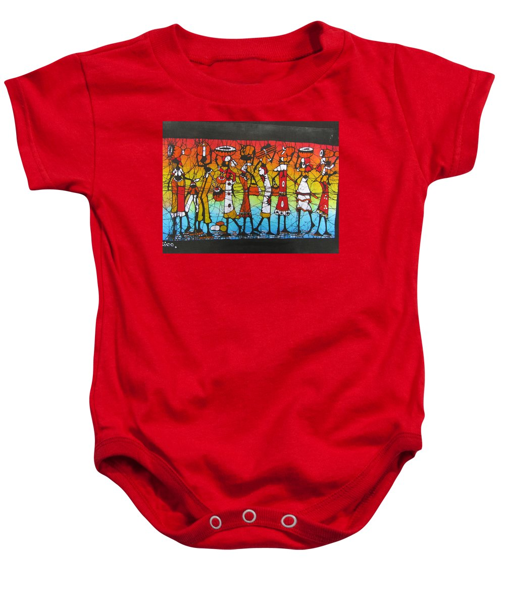 African Baby Onesie featuring the painting African Woman Carrying On Head by Jafeth Moiane