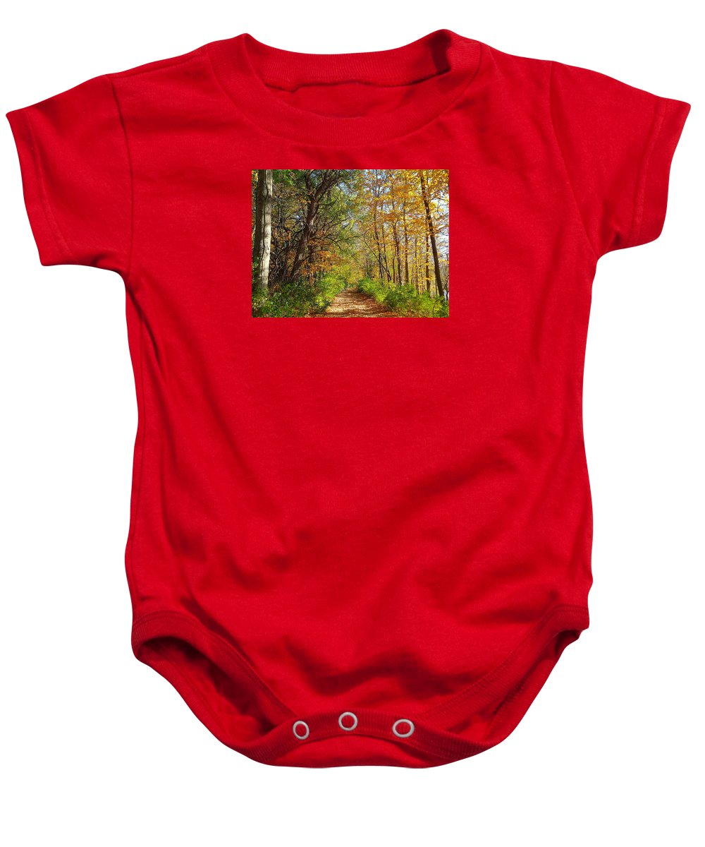 Autumn Baby Onesie featuring the photograph Autumn In The Park by Wendy Yee