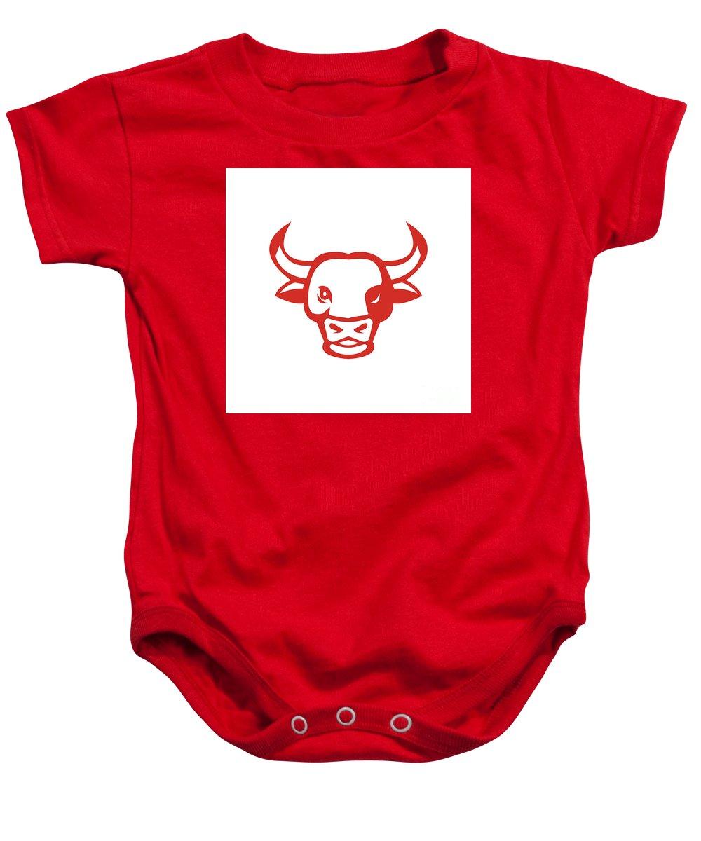 Bull Baby Onesie featuring the digital art Bull Cow Head Smiling Isolated Retro by Aloysius Patrimonio