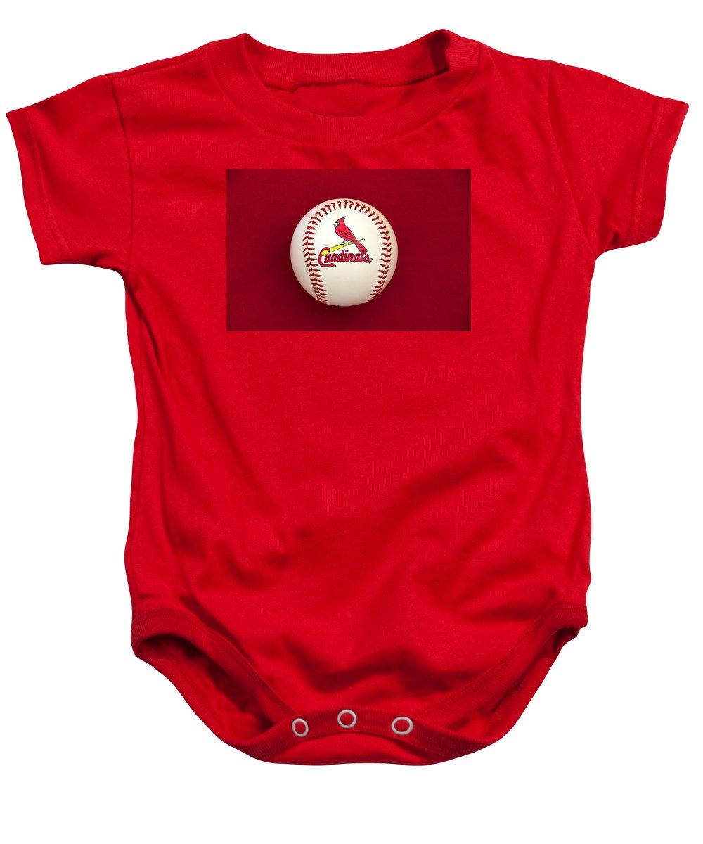 Baseball Baby Onesie featuring the photograph Cardinals by Steve Stuller