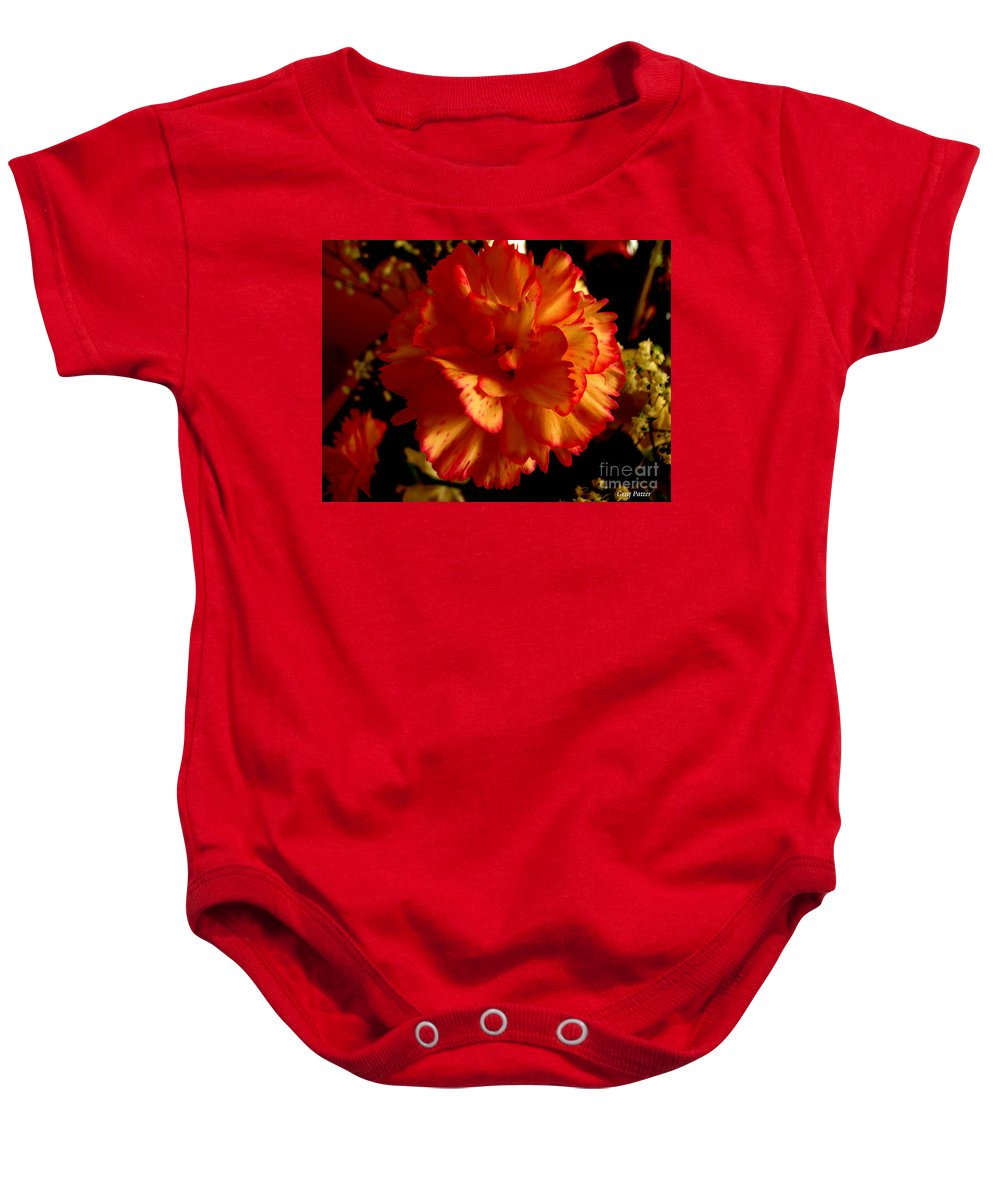 Patzer Baby Onesie featuring the photograph Carnation by Greg Patzer