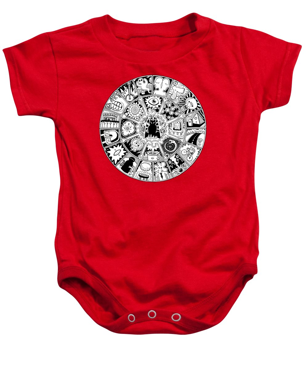 Cat Baby Onesie featuring the drawing Cat Mandala Black And White by Larry Carey