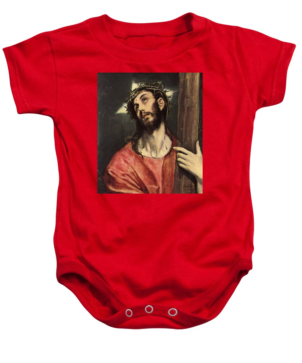 Christ Baby Onesie featuring the painting Christ Carrying The Cross by El Greco