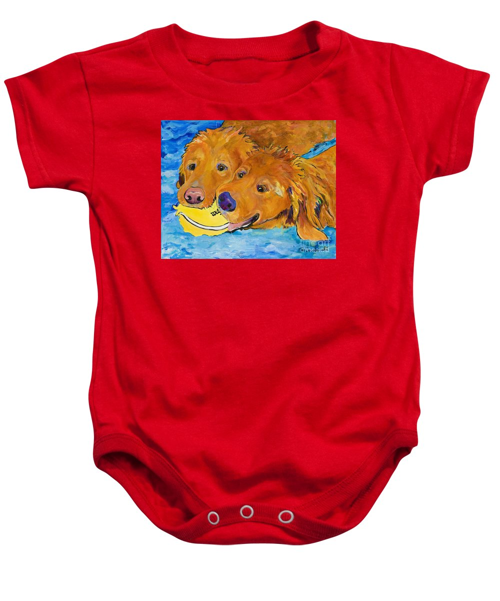 Golden Retriever Baby Onesie featuring the painting Double Your Pleasure by Pat Saunders-White