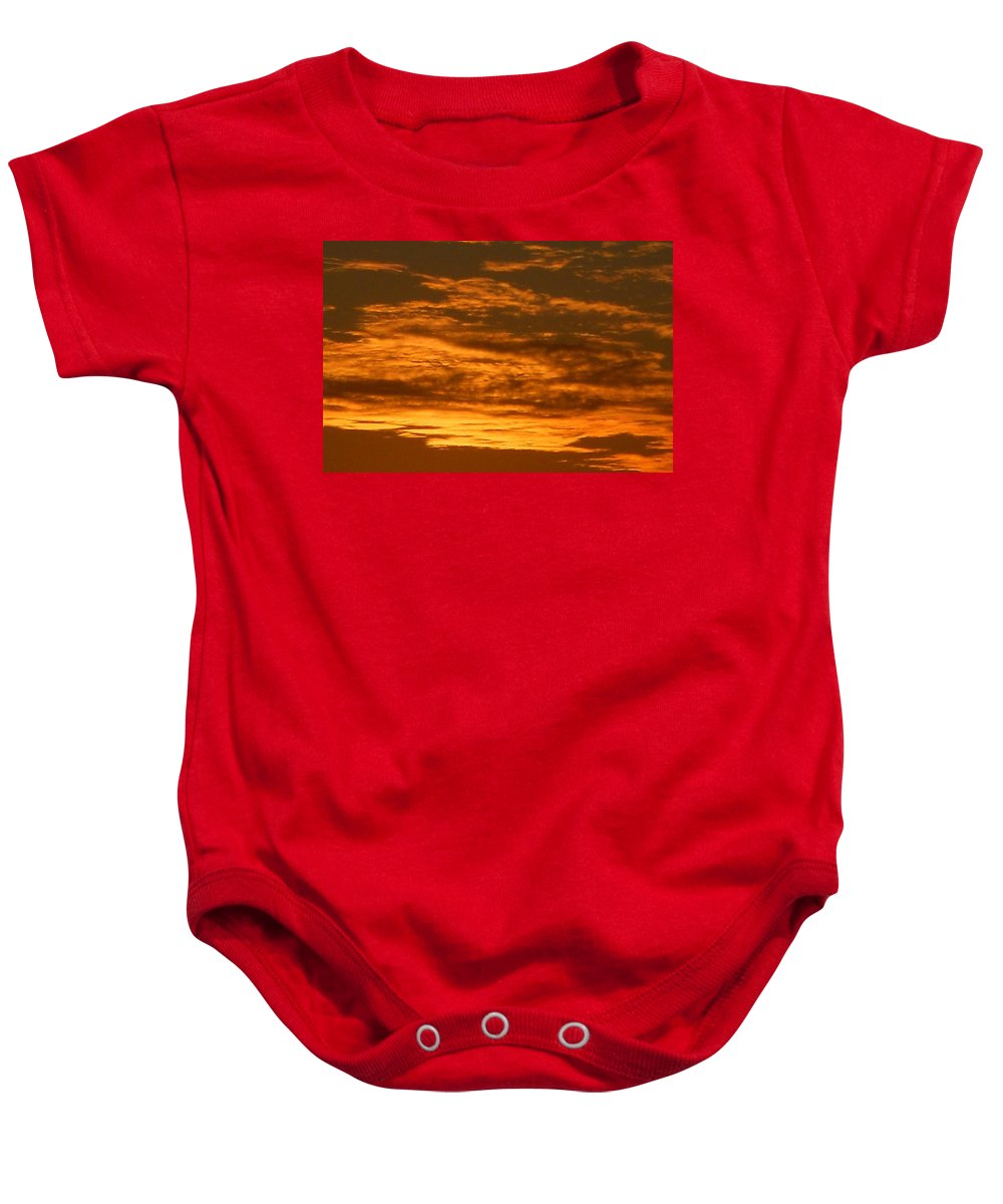 Baby Onesie featuring the photograph Fire In The Sky by Joseph Calderone