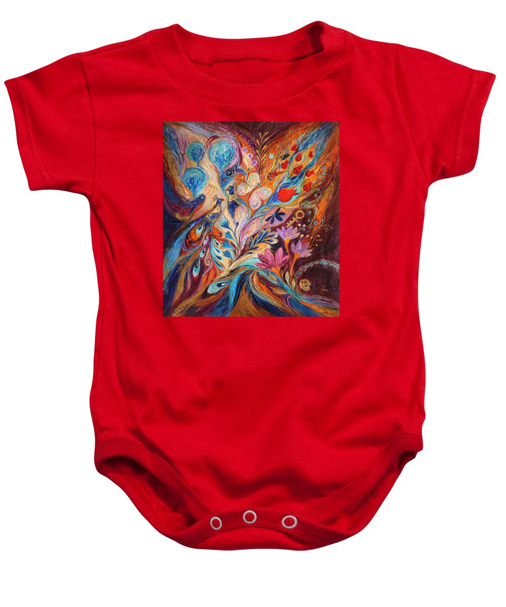Modern Jewish Art Baby Onesie featuring the painting Foreboding Storm by Elena Kotliarker
