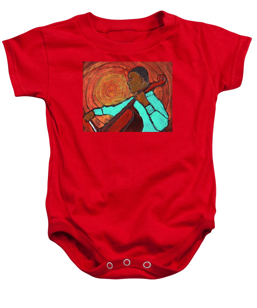 Jazz Baby Onesie featuring the painting Hot Jazz by Wayne Potrafka