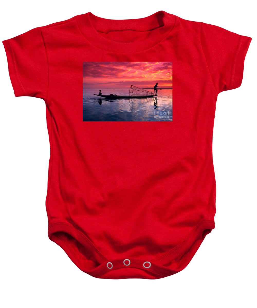 73-csm0075 Baby Onesie featuring the photograph Inle Lake Fisherman by Gloria & Richard Maschmeyer - Printscapes
