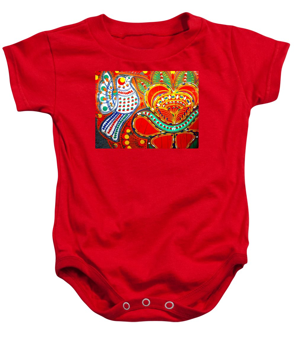 Fantasy Folk Art Baby Onesie featuring the painting Jinga Bird by Fareeha Khawaja