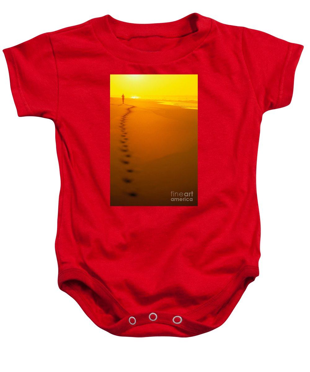 C1211 Baby Onesie featuring the photograph Jogging At Sunset by Dana Edmunds - Printscapes