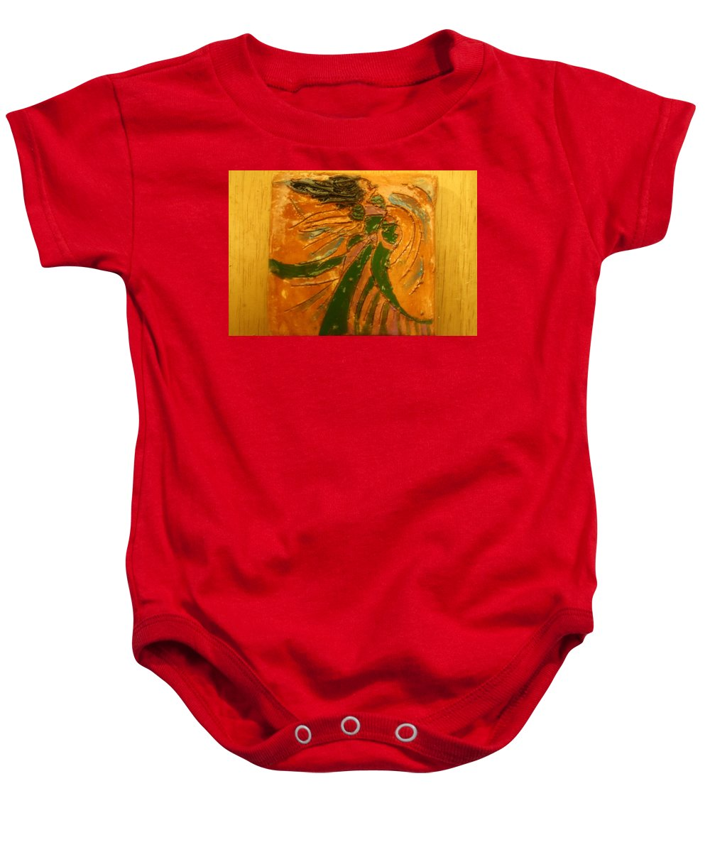 Jesus Baby Onesie featuring the ceramic art Lady Sings - Tile by Gloria Ssali
