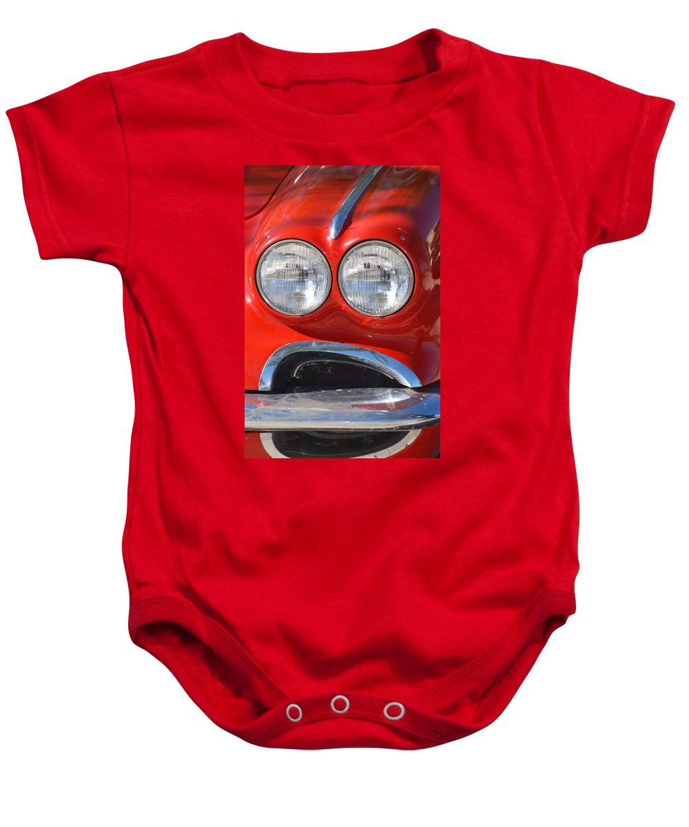 Corvette Baby Onesie featuring the photograph Little Red Corvette by Rob Hans