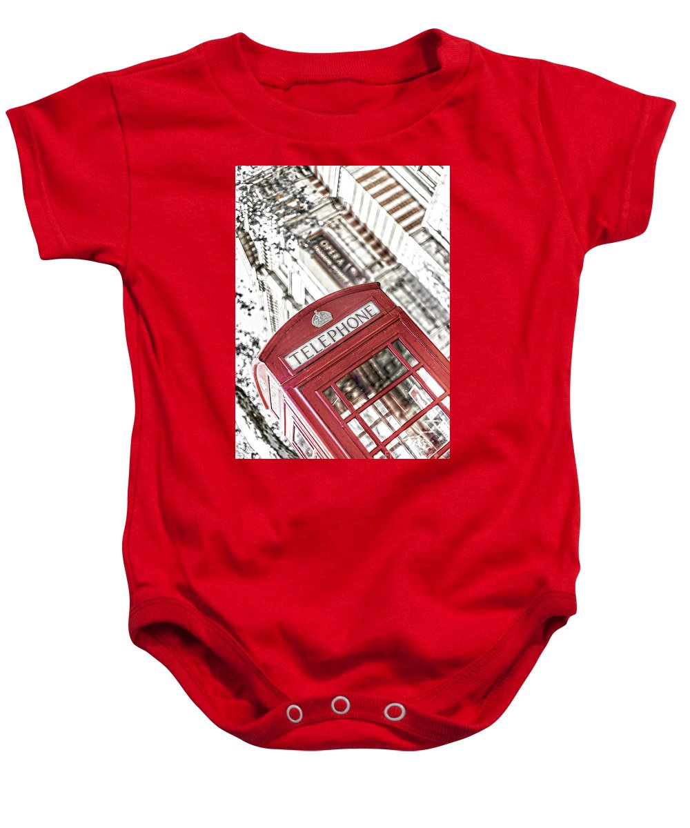 Big Ben Baby Onesie featuring the photograph London Telephone 3b by Alex Art and Photo