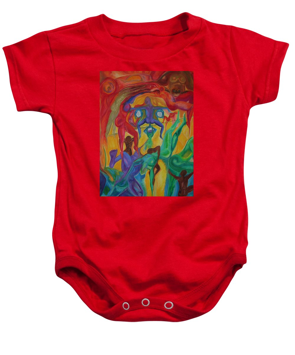 Mann In The Middle Baby Onesie featuring the pastel Mann I The Middle by Sitara Bruns
