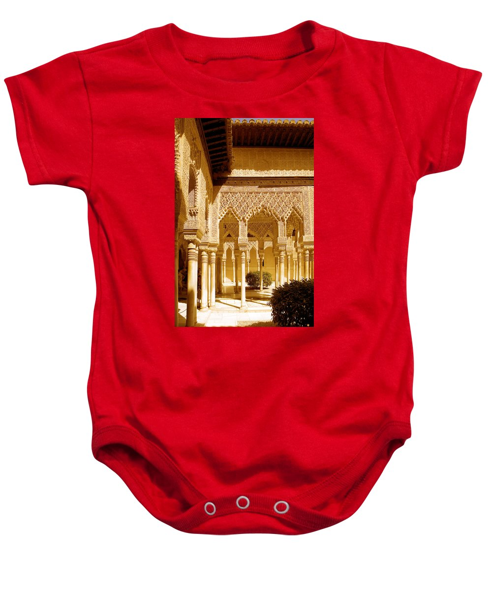 Moorish Baby Onesie featuring the photograph Moorish Architecture In The Nasrid Palaces At The Alhambra Granada by Mal Bray
