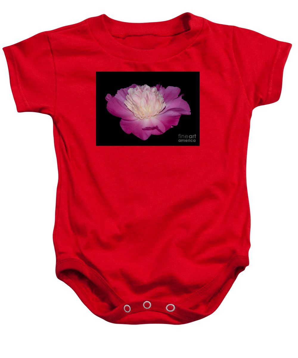 Baby Onesie featuring the photograph Pink Peony Petals by Jeannie Rhode