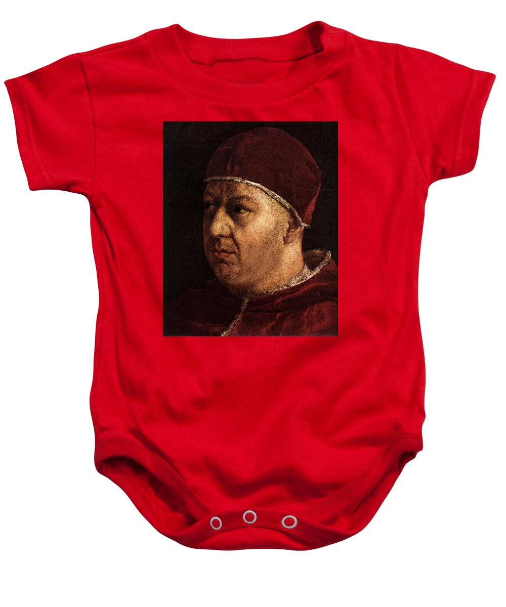 Raphael Pope Leo X With Cardinals Giulio De Medici And Luigi De Rossi Baby Onesie featuring the digital art Raphael Pope Leo X With Cardinals Giulio De Medici And Luigi De Rossi by PixBreak Art