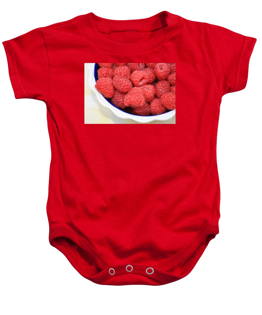 Raspberries Baby Onesie featuring the photograph Raspberries In Polish Pottery Bowl by Carol Groenen