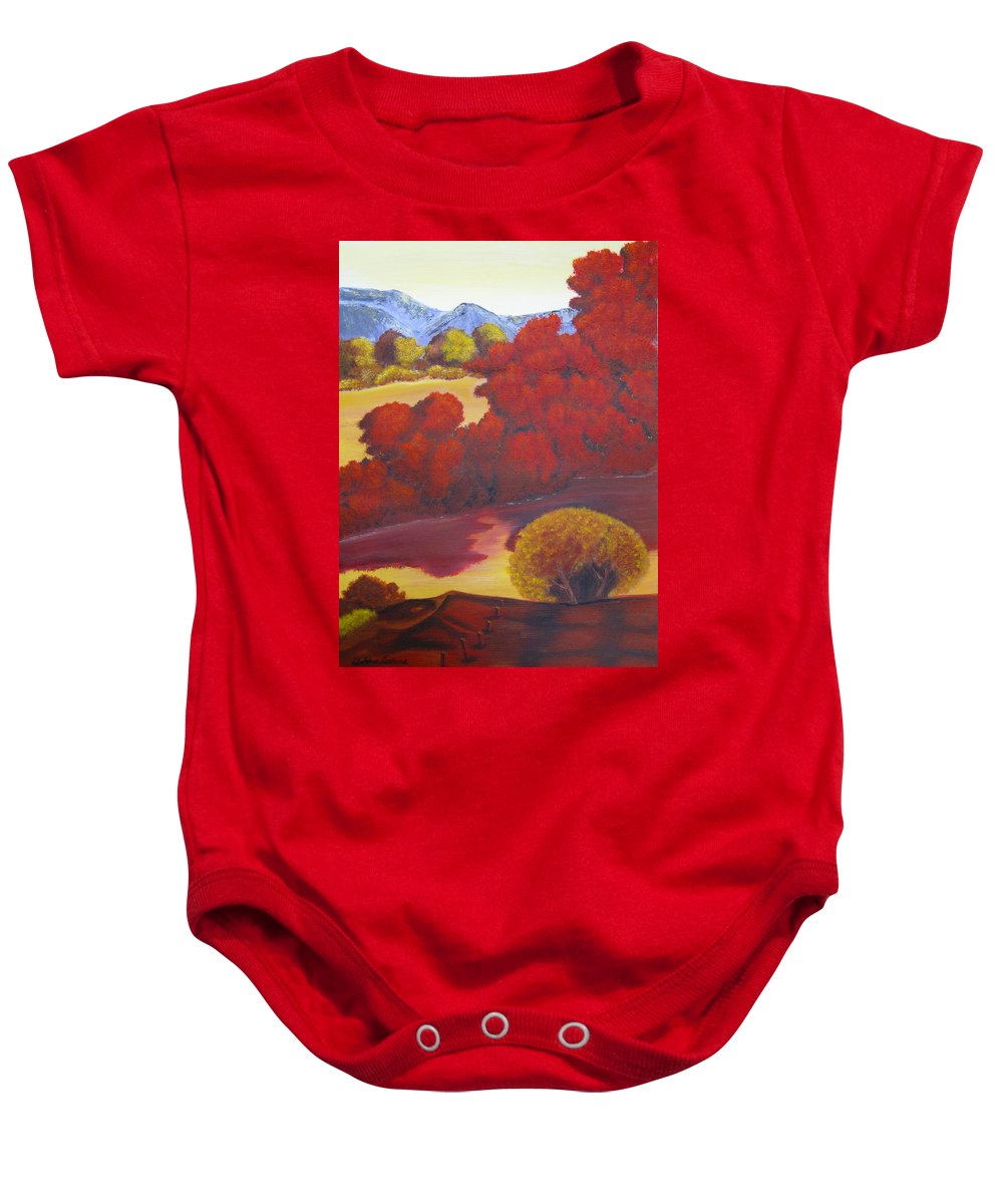 Landscape Baby Onesie featuring the painting Red Autumn by Debbie Levene