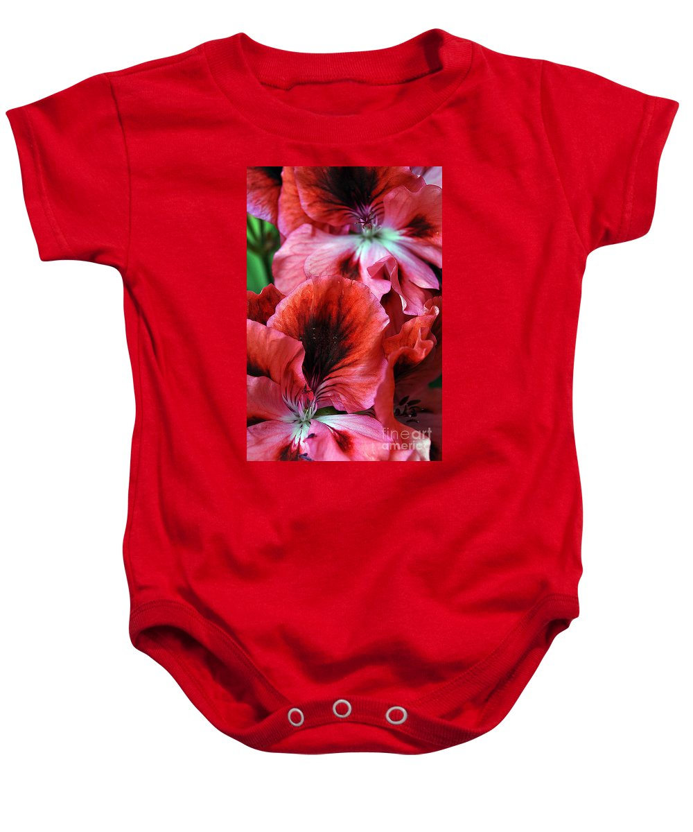 Clay Baby Onesie featuring the photograph Red Floral by Clayton Bruster