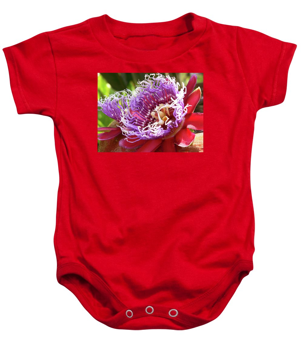 Flower Baby Onesie featuring the photograph Red Lotus by Angela Wright
