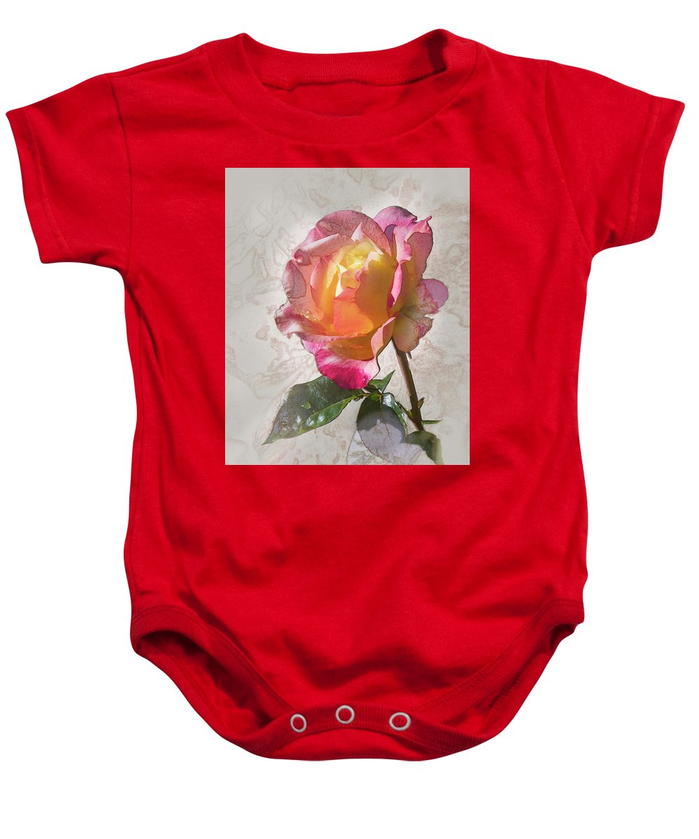 2001 All-america Rose Selection Baby Onesie featuring the digital art Rosa, 'glowing Peace' by Mark Mille