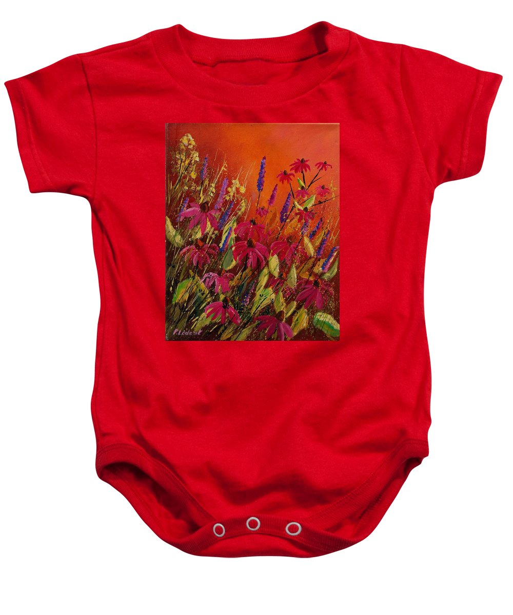 Flowers Baby Onesie featuring the painting Rudbeckias And Lyatris by Pol Ledent