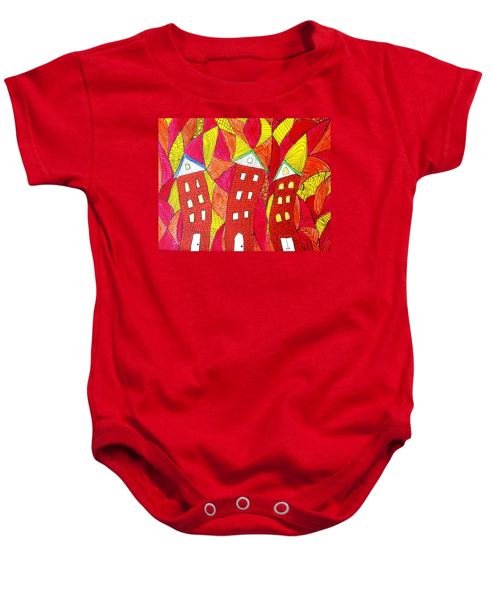 Houses Baby Onesie featuring the painting Summer In The City by Wayne Potrafka